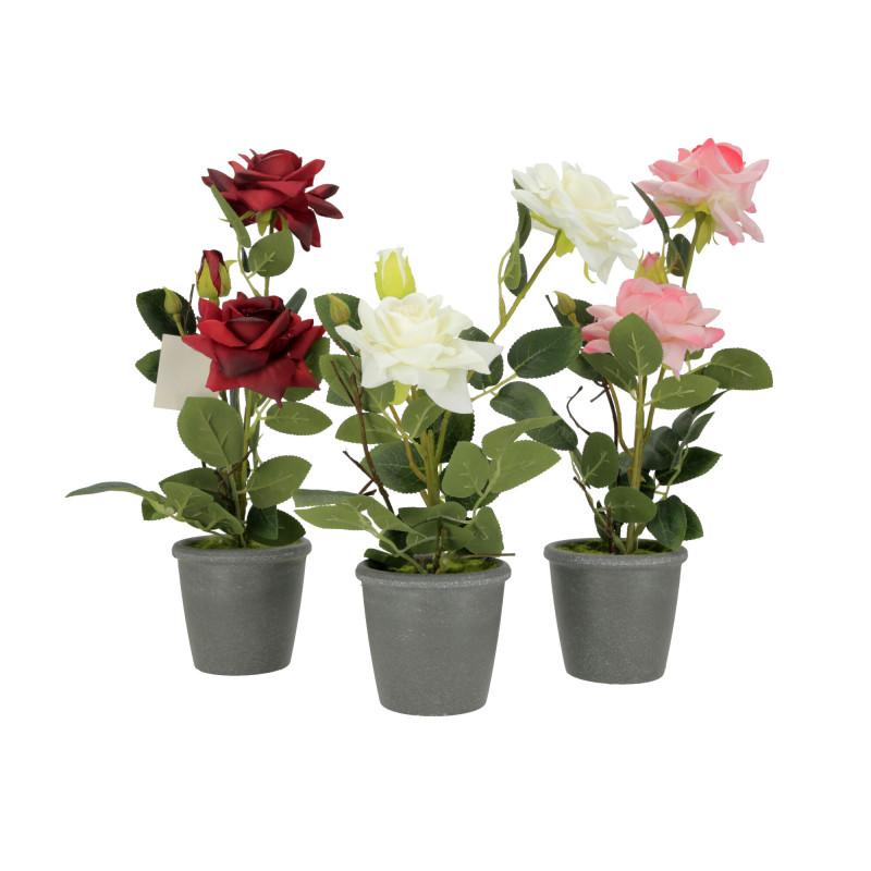 Kwiaty sztuczne róża w donicy 35cm