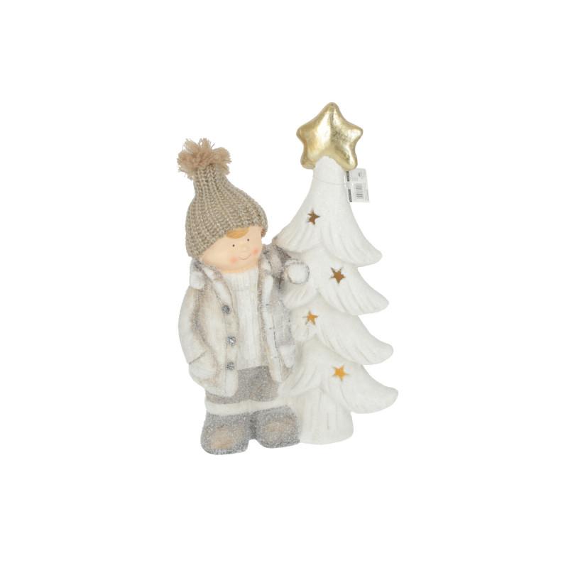 Bożonarodzeniowa figura dziecko z choinką