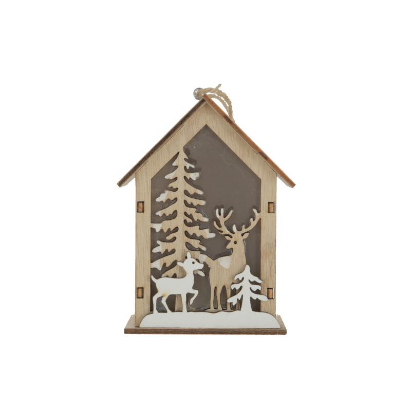 Drewniana zawieszka domek