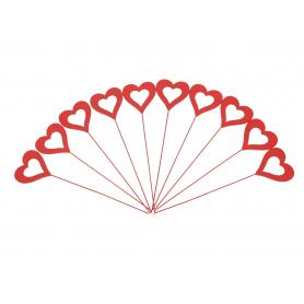Drewniany pik serce red 10szt/kpl HY4476