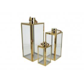 Metal komplet 3 latarni Luciano gold HTO0501