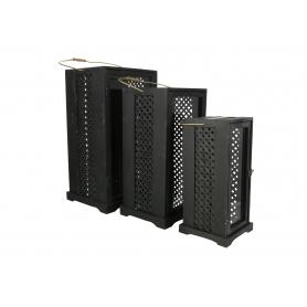 Drewniany kpl 3 latarni LEVI BLACK  HTO2109