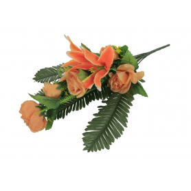Bukiet Lilii i Róży z liściem palmy