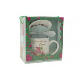 Ceramiczny kubek z podstawką i łyżeczką flowers 12SH36S