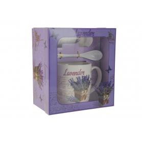 Ceramiczny kubek z łyżeczką i podstawką  lavender 12416