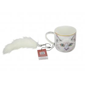 Ceramiczny kubek Biały Kot + brelok 017-0023