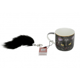 Ceramiczny kubek Czarny Kot + brelok 017-0024