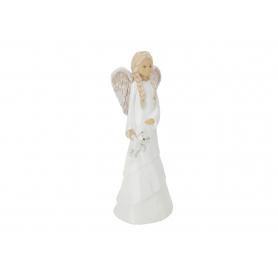 Ceramiczny anioł stojący z misiem Lena 08022
