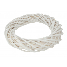 Wiklinowy wianek 45cm biały 18025 HC18028-45W