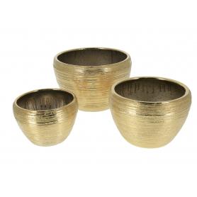 Ceramiczny kpl 3 doniczek NEVA GOLD HTYE5927