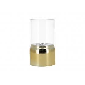 Świecznik szklany z kloszem RITA  HTRD3558 gold