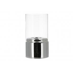 Świecznik szklany z kloszem RITA silver HTRD3541