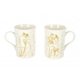 Ceramiczny zestaw 2 kubków NBC  Ślubne Art Para Młoda 90547
