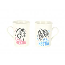 Ceramiczny zestaw 2 kubków NBC Ona Piekna/On Bestia 96198