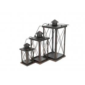Metalowa latarnia x3 16183BR