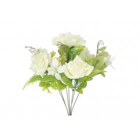 Kwiaty sztuczne kremowy bukiet róż 58095
