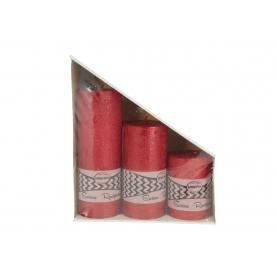 Świeca zestaw rustykalnych 70/100 RWSET703L-czerwony