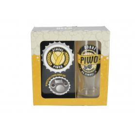 Szklanka do piwa i otwieracz z magnesem  BEER GIFTS 500ml 79320-3