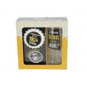 Szklanka do piwa i otwieracz z magnesem  BEER GIFTS 500ml 79320-1