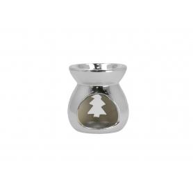 Ceramiczny kominek 7,5x7,5x8cm srebrny 12303S