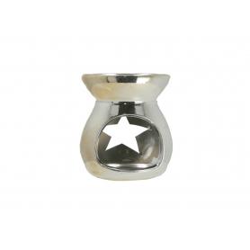 Ceramiczny kominek 7,5x7,5x8cm srebrny 12302S
