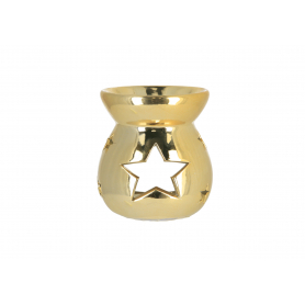 Ceramiczny kominek 7,5x7,5x8cm złoty 12302G
