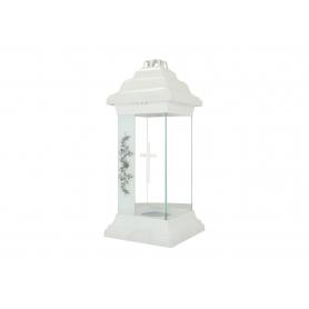 Znicz ROMA latarnia szklana biała ZLS1biała