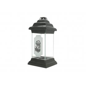Znicz ROMA latarnia szklana biała ZLS1czarna