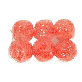 """Ratanowe kulki x6 """"5"""" 120015-pomarańcz"""