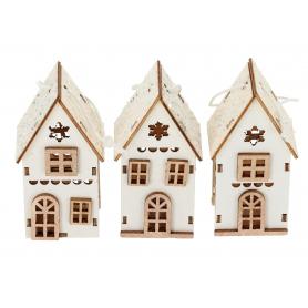 Domek biały drewniany zawieszka HY4332