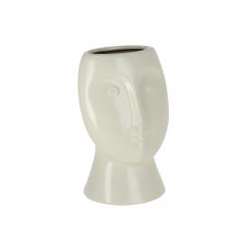 Ceramiczna doniczka beżowa twarz 43350
