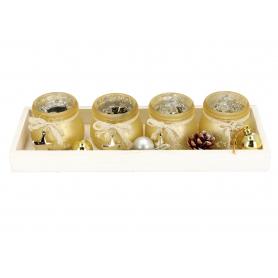 Komplet 4 świeczników złotych 41140