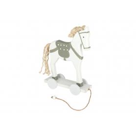 Bożonarodzeniowy koń na kółkach biały 61020