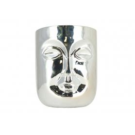 Ceramiczna doniczka Twarz srebrna 5535