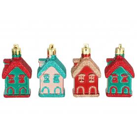 Bożonarodzeniowy kpl 4 zwieszek domków 4258