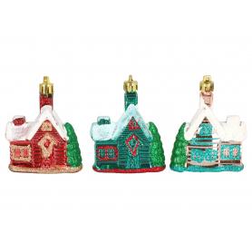 Bożonarodzeniowy kpl 3 zawieszek domków 3989
