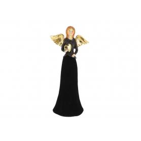 Anioł welurowy czarny z sercem duży 41030