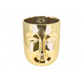 Doniczka twarz złota duża  05527