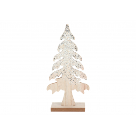 Drewniana dekoracja drzewko z brokatem HY4182