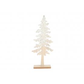Drewniana dekoracja Drzewko z brokatem HY4181