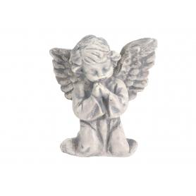 Gipsowy aniołek modlący mały szary G914S