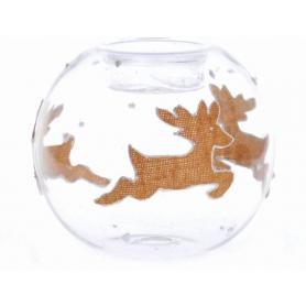 Bożonarodzeniowy świecznik szklany z ren 31675