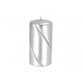 Świeca bolero metalic walec mały srebrny 09287srebrny