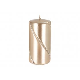 Świeca bolero metalic walec mały szampan 09287szampan
