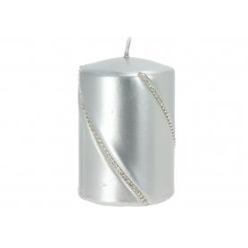 Świeca bolero metalic walec mały Srebrny 09286srebrny