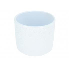 Ceramiczna osłonka cylinder flora 12cm  biała 998007