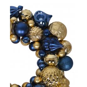 Wieniec z bombek niebiesko złotch duży 3091