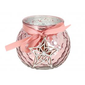 Świecznik szklany różowy z gwiazdą 02806