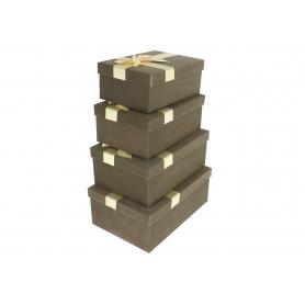 Pudełka flowerbox flokowane kokarda 3781GY