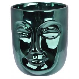 Ceramiczna doniczka Twarz zielona  5624